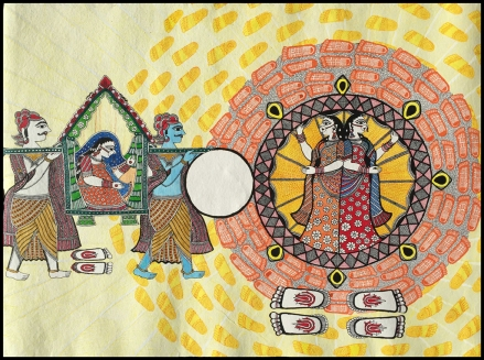 "Shalinee Kumari, Betiyaan Parayi Hoti Hai (Daughters Are for Others) 30""x22"", acrylic on paper, 2016"