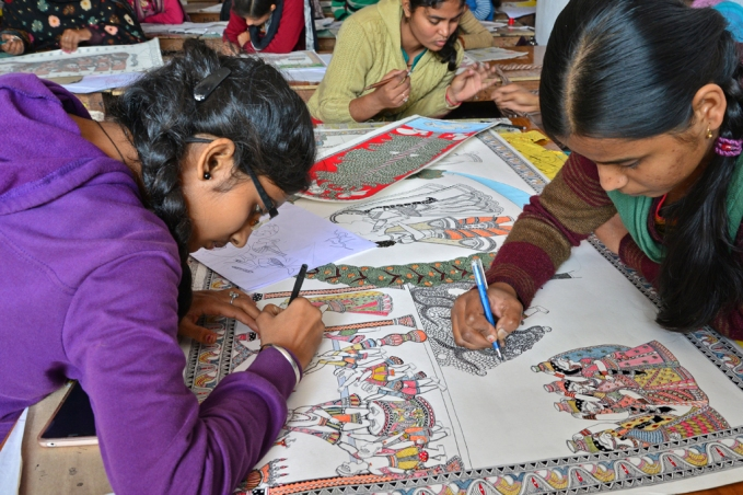 Priya Kumari(left) and Rupam Kumari collaborate.