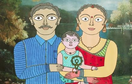 "Avinash Karn, Munna Smile Please, 36""x24"", acrylic on canvas 2016. (Background digitized /printed photo, figures painted.)"