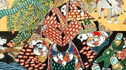 "Rani Jha , Earthquake (detail), 33""x20"", acrylic on paper, 2015."