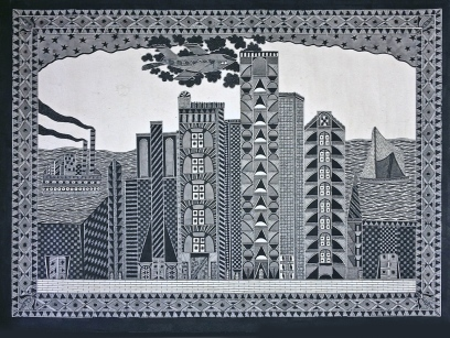 "Naresh Kumar Paswan, 9-11, 30""x22"", pen and ink on paper, 2014,"