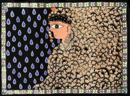 "Priya Kumari, Troubled Past- Desired Future, 30""x22"", acrylic on paper, 2015"
