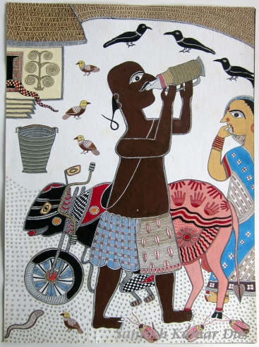 "Santosh Kumar Das, Man Drinking Milk 22""x30"", acrylic on paper, nd"