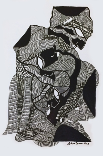 """Shantanu Das, My Silence is Never Singular, 8,5""""x11.75"""", pen and ink on paper, 2016."""