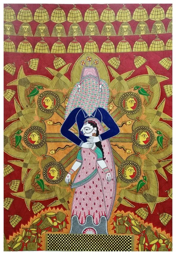 "Shantanu Das and Mahalaxmi, Kohbar Monologues #2, 22""x30"" acrylic on paper, 2016"