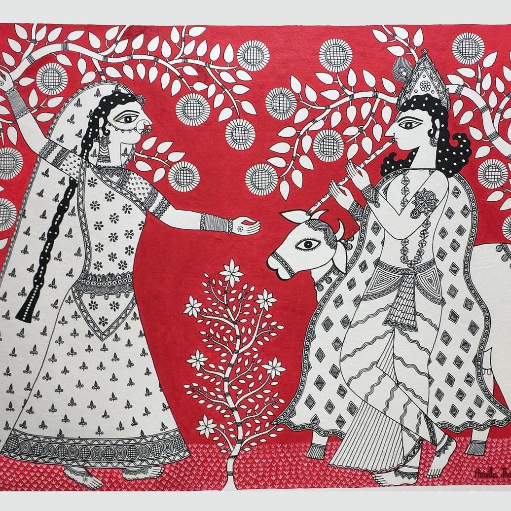Amrita Jha _Radha Krishna _acrylic on handmade paper_ 30x22_2017