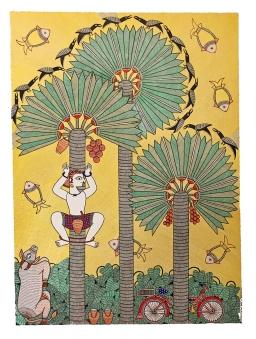 Mahalaxmi _Shantanu Das_ Toddy Tapper Three Palm Trees_ 22x30_ 2016 a