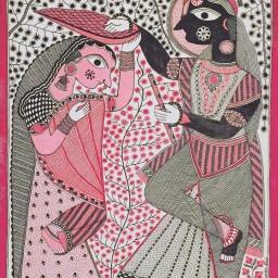 Santosh Kumar Das _ Radha Krishna _ 15x20_ acrylic on handmade paper _ 2016