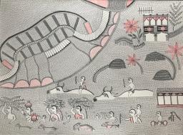 Santosh Kumar Das _Flood of 1977_acrylic on handmade paper _30x22_ 2000