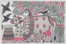Santosh Kumar Das_ Milkmaid with Cow _acrylilc on handmade paper_18x12_2015