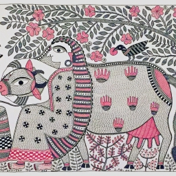 Santosh Kumar Das_ Milkmaid with Cow _acrylilc on handmade paper_18x12_2015